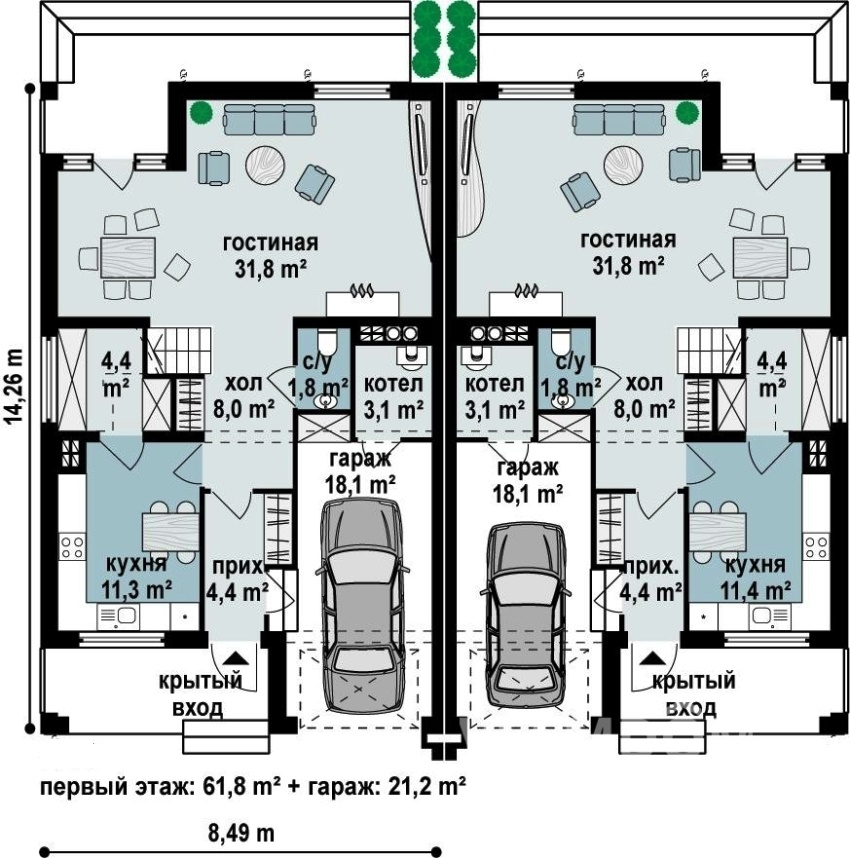 Планировка таунхауса с гаражом на две семьи
