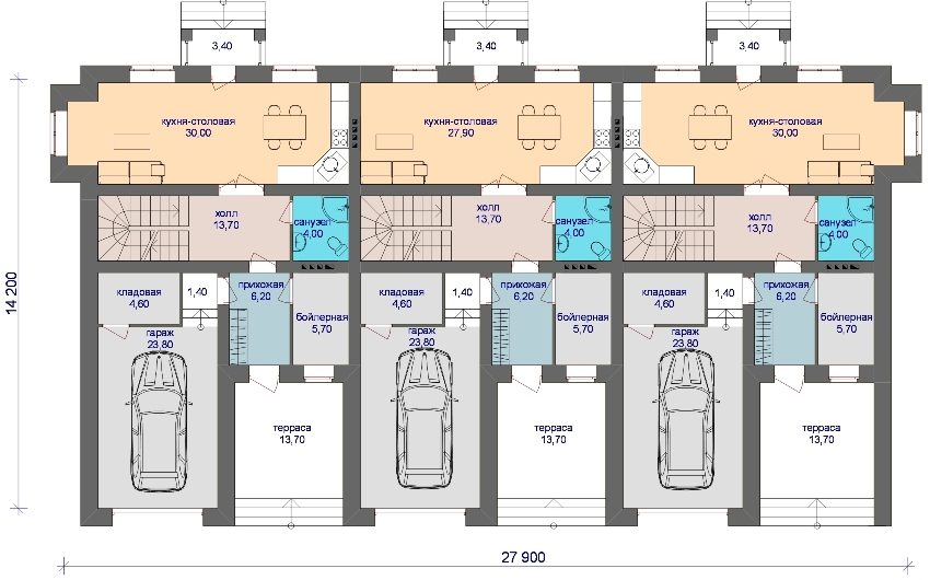 Проект таунхауса на 3 семьи с гаражом