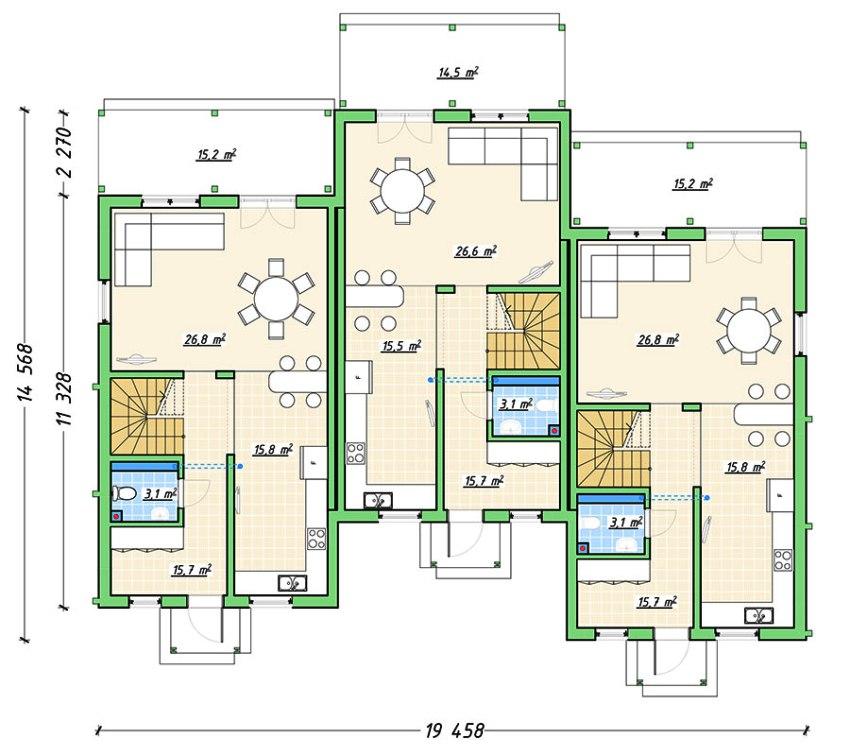 Дизайн-проект таунхауса должен составляться с учётом всех требований и особенностей