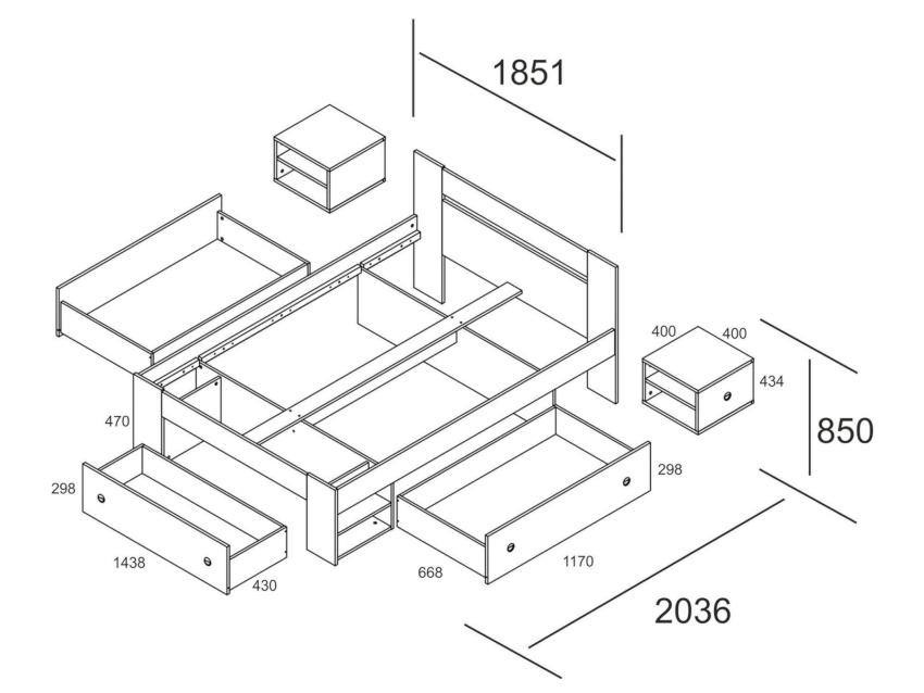 Прежде чем начать изготовление кровати нужно нарисовать чертеж с размерами и определить последовательность действий