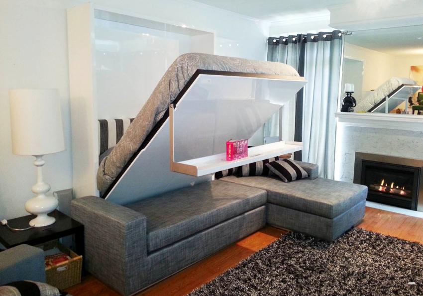 Чаще всего двуспальные кровати-трансформеры с диваном размещаются в гостиных и детских комнатах