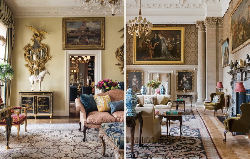Оформление гостиных в классическом стиле предполагает обилие картин и различного декора