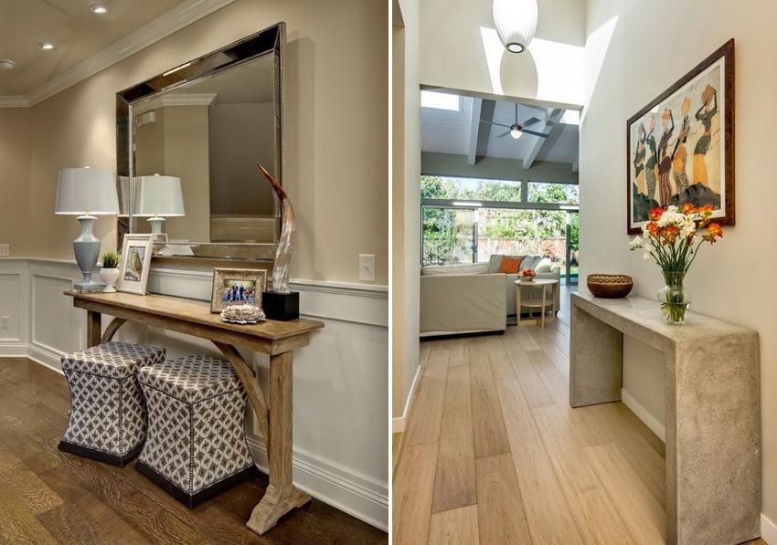 Помимо декоративной функции консольный столик служит для хранения мелких предметов, которые должны быть под рукой