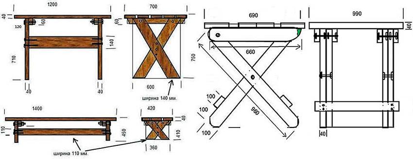 Чертеж консольного столика из дерева для изготовления своими руками