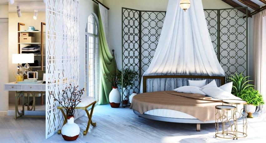 Не обязательно покупать белье по форме круглой кровати, можно использовать и стандартный вариант