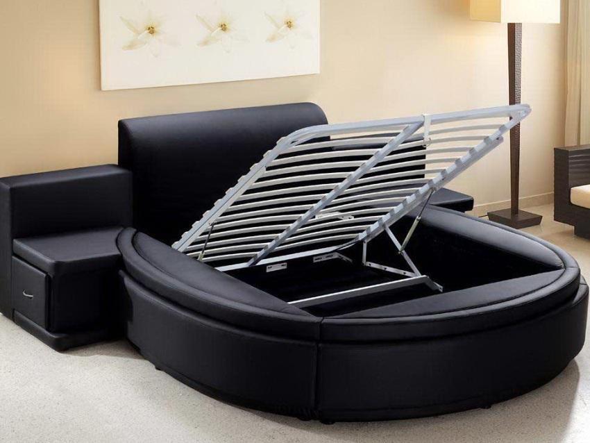 Многокомпонентная круглая кровать-трансформер станет хорошим вариантом для хранения необходимых вещей