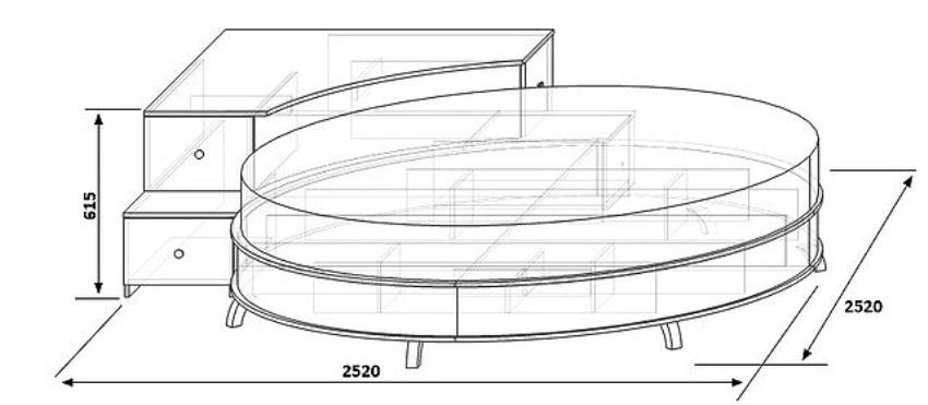 Схема деревянной круглой кровати