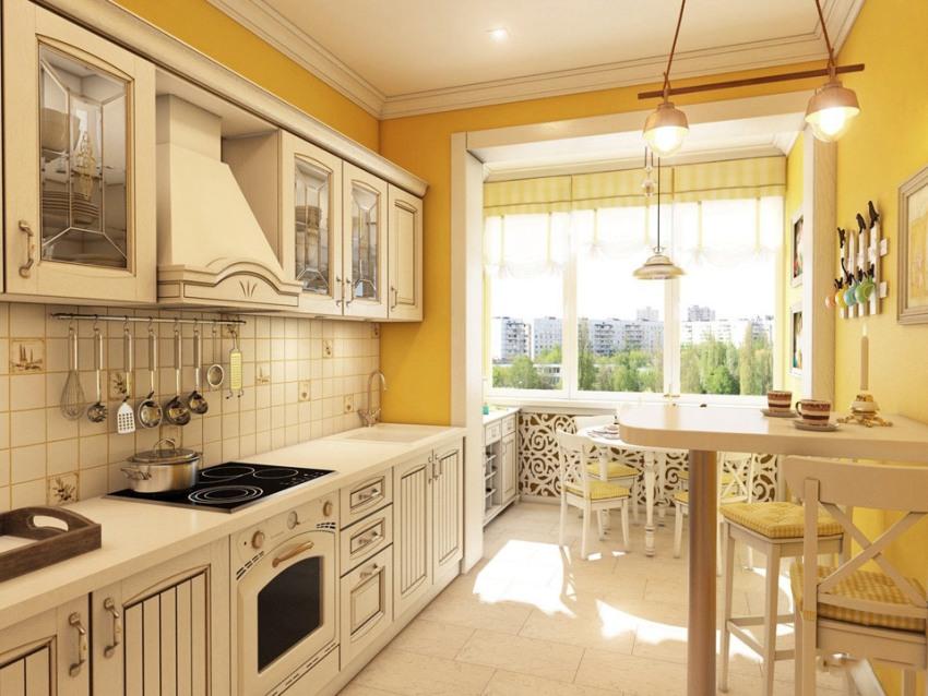 Кухню на балконе можно сделать отдельным помещением или разместить в этой части зону столовой