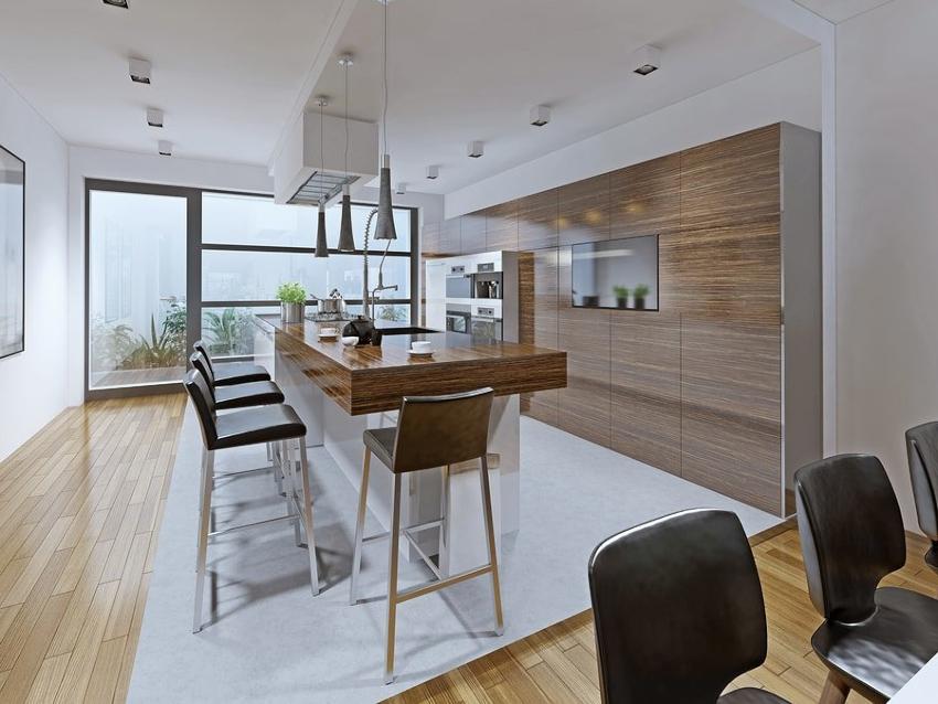 Потолок в кухне хай-тек достаточно тщательно выровнять и покрасить в белый цвет
