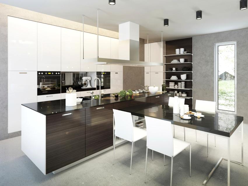 Желательно, чтобы стойка и стол в кухне хай-тек имели правильную форму