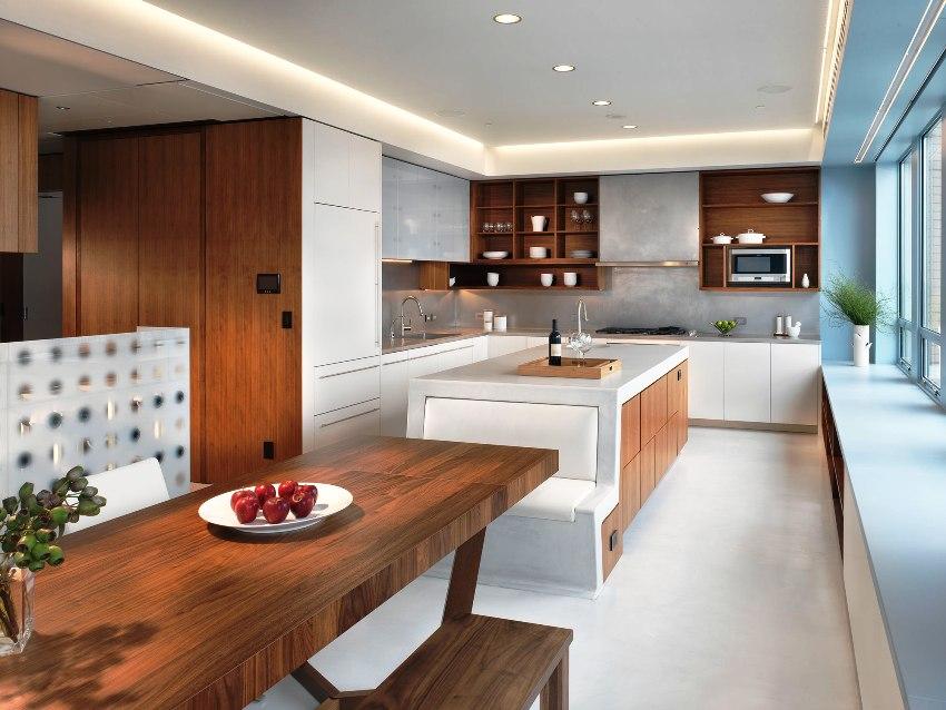 При правильной расстановке мебели в минималистическом стиле освобождается пространство и визуально расширяется площадь кухни