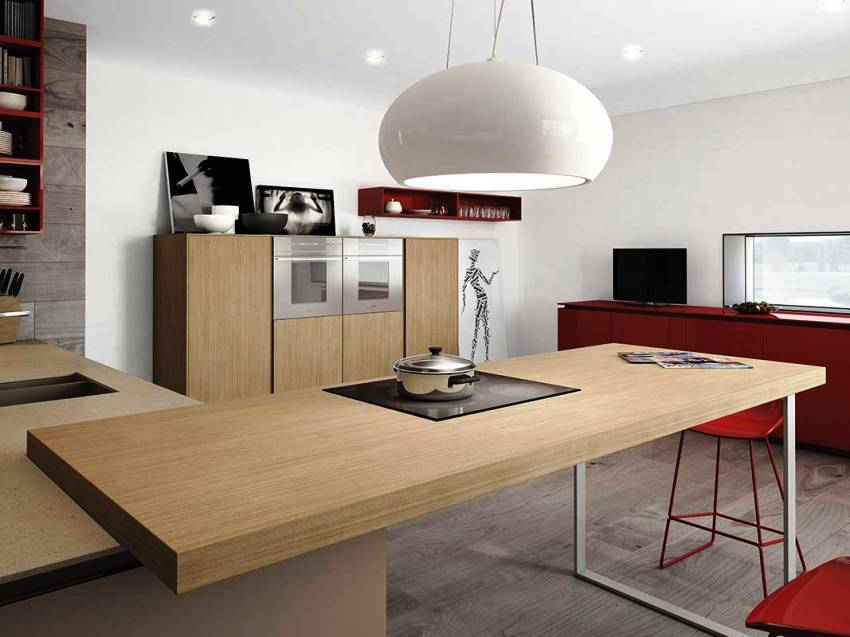 Кухня в стиле минимализм сочетает в себе нейтральные базовые цвета, но допустимы и яркие акценты