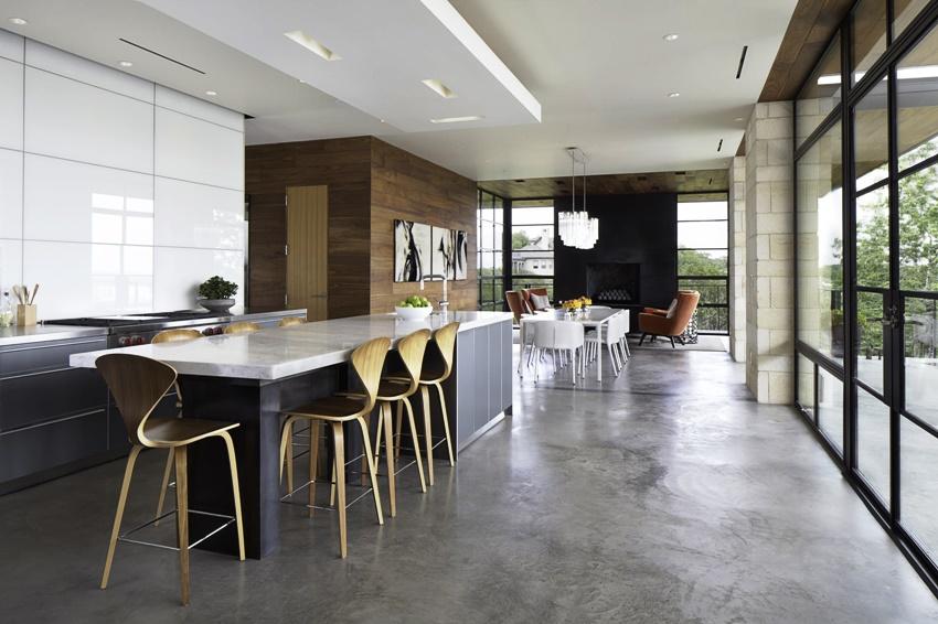 Интерьер кухни в минималистическом стиле предполагает только встроенную бытовую технику