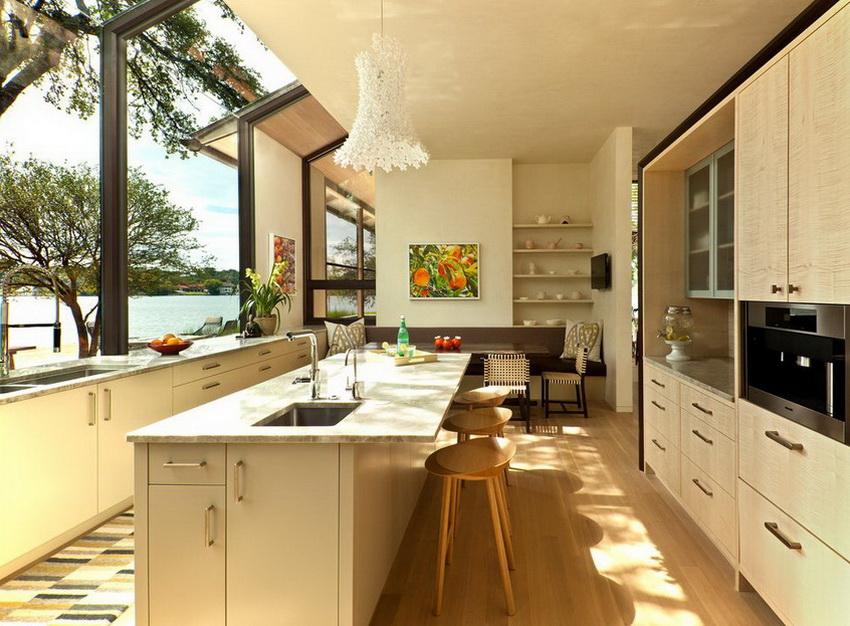 Просторным помещениям модерн добавляет изящности, а маленькие делает визуально просторнее