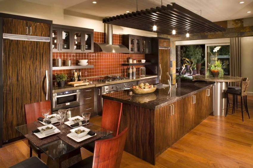 При оформлении кухни в стиле модерн часто используются поверхности, имитирующие натуральные материалы
