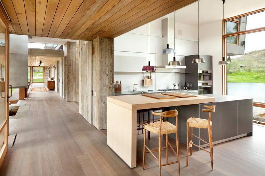 Кухня в стиле модерн выглядит просто и вместе с тем дорого