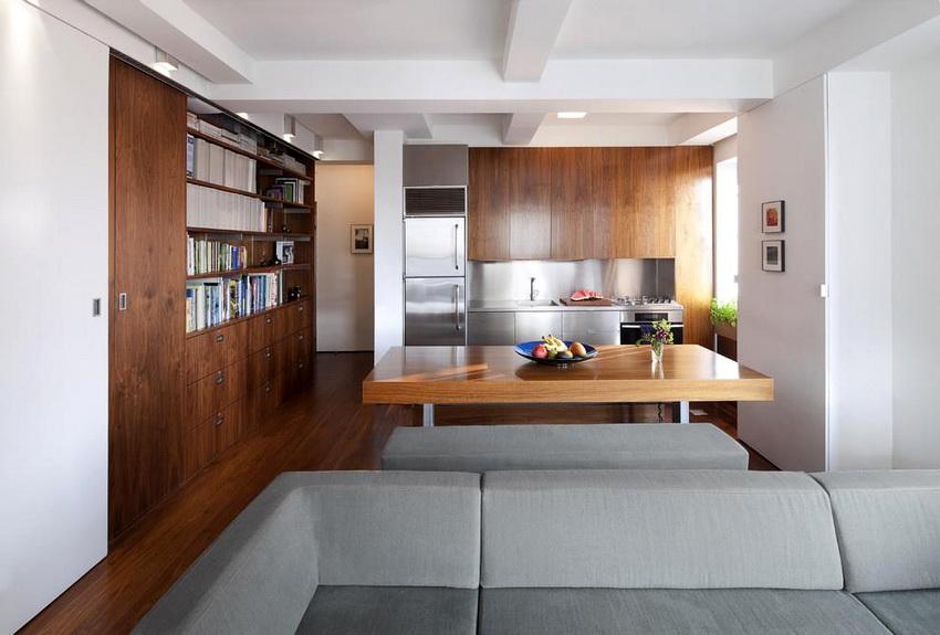 При создании дизайна интерьера кухни в стиле модерн важную роль играет отделка стен, потолка и пола