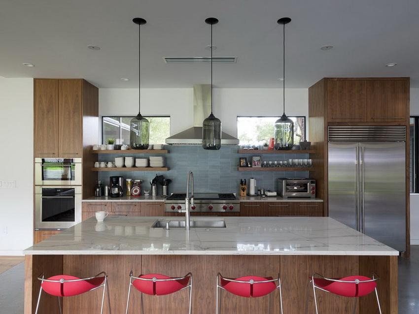 Для создания гармоничного дизайна кухни в стиле модерн необходимо правильно сочетать цветовую палитру с освещением