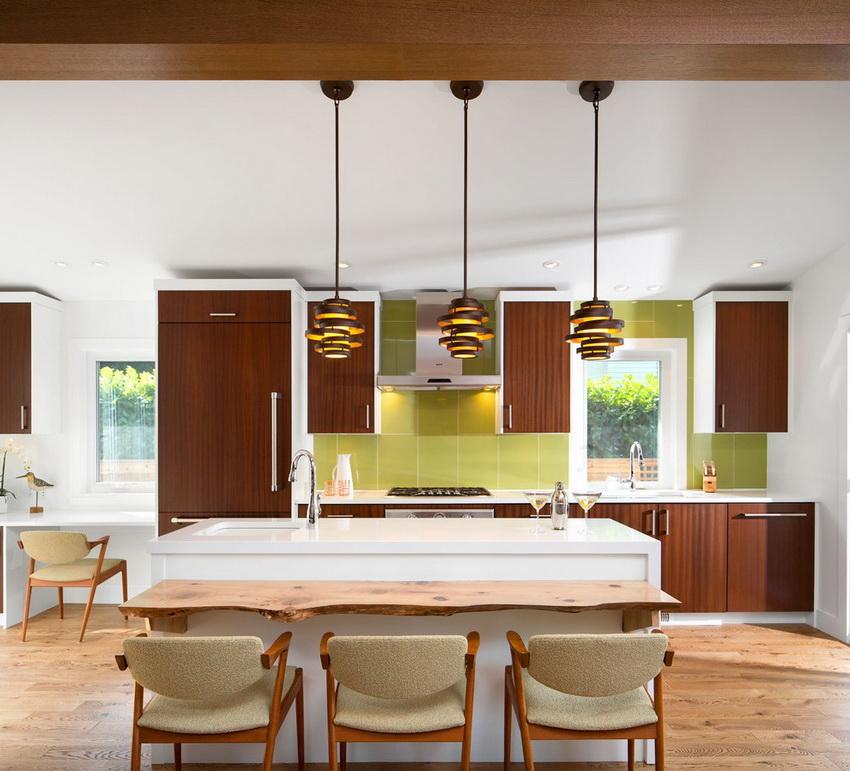 Кухню в стиле модерн в шоколадных цветах лучше разбавить другими сочетающимися цветами