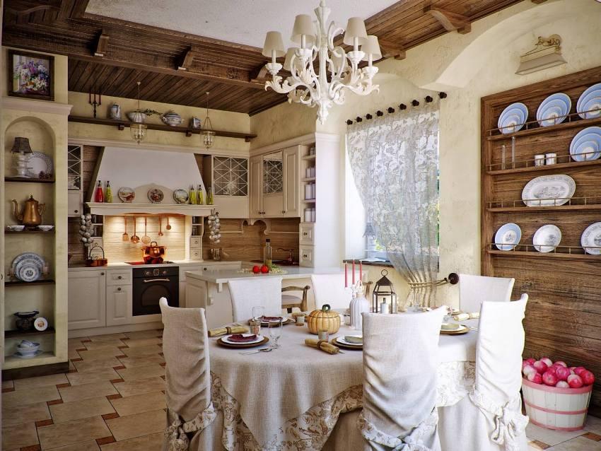 Скатерти, воздушные занавески, шторы, полотенца и салфетки создают ощущение природной естественности на кухне в стиле прованс