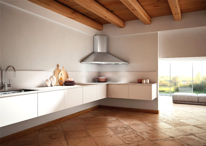 Г-образная форма гарнитура - это универсальный вариант, который подходит для кухонь любой площади