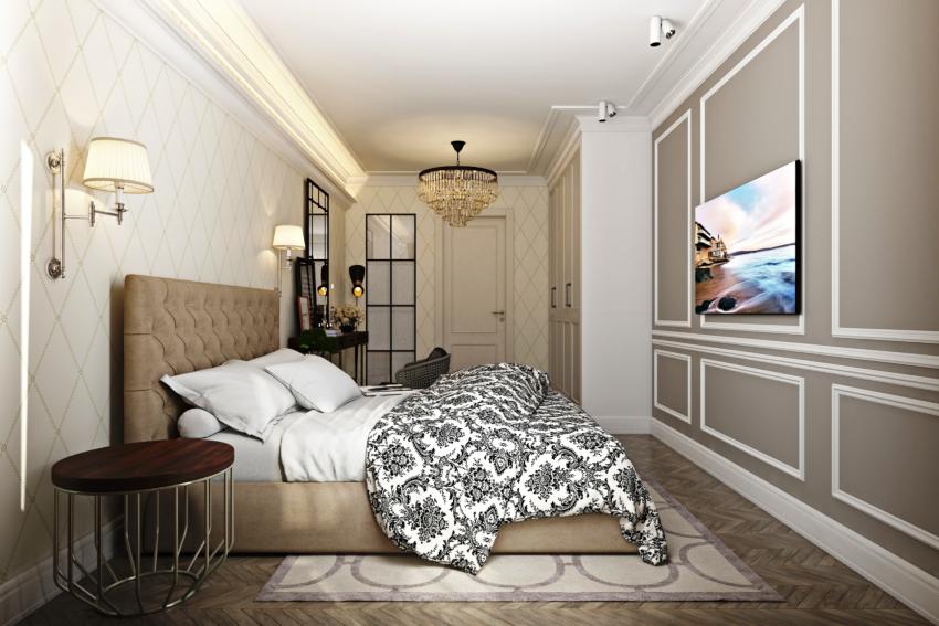 В маленьких спальнях отлично смотрятся узкие молдинги небольших размеров