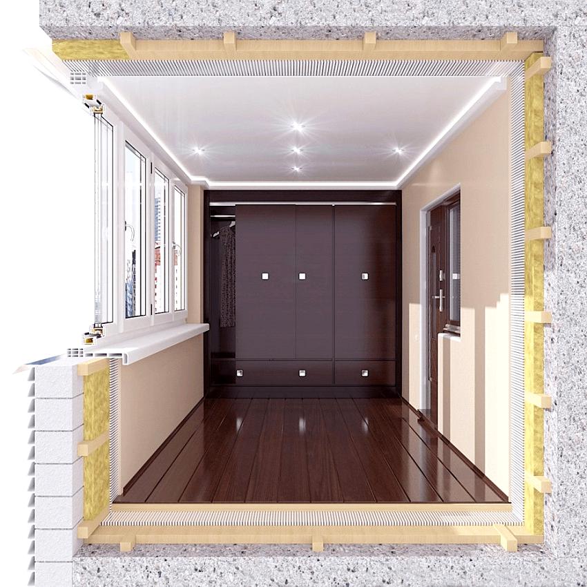 Внутренняя теплоизоляция балкона сужает его полезную площадь