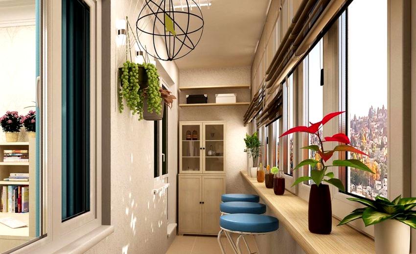 Материал для отделки подбирают исходя из функционального назначения полезного пространства балкона