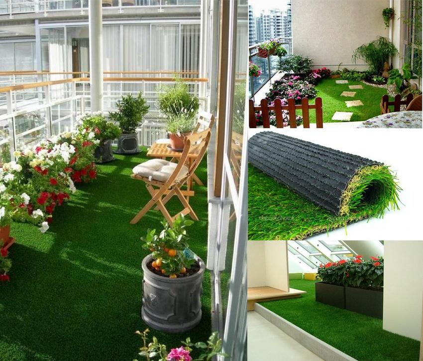 Очень эффектно выглядит на балконе ковролин, имитирующий зеленую лужайку
