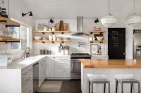 Полки должны гармонировать по цвету со стенами и общим интерьером кухни