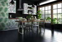 Расположение полок подбирается в зависимости от размеров кухни и количества другой мебели