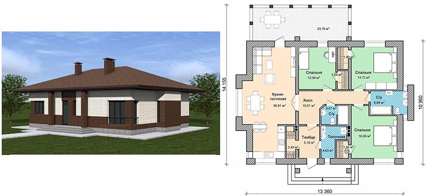 Проект кирпичного одноэтажного дома с террасой размером 13,36х14,16 м²