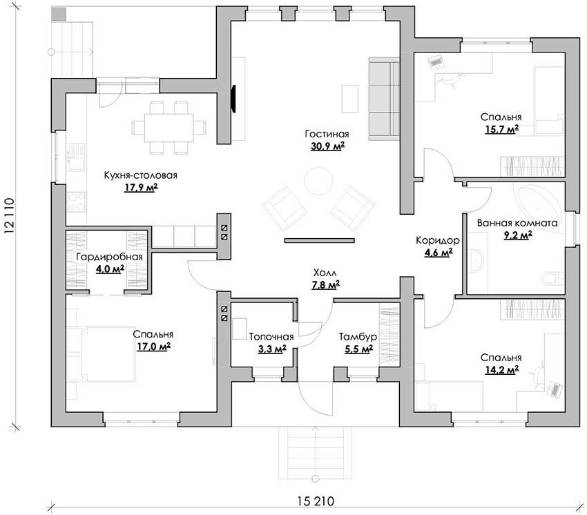Проект одноэтажного дома из кирпича размером 12,11х15,21 м²