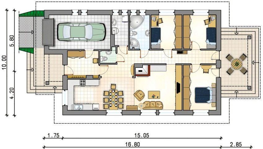Проект одноэтажного кирпичного дома с гаражом размером 10х19,65 м²
