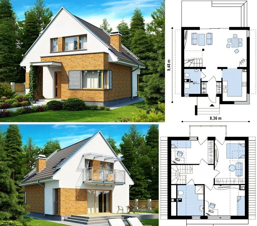 Типовой проект кирпичного дома с мансардой размером 9,48х8,36 м²