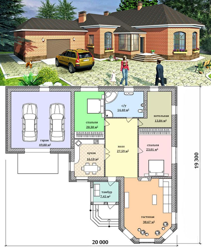 Проект одноэтажного кирпичного дома с гаражом на два автомобиля