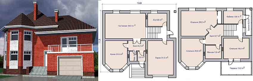 Проект двухэтажного кирпичного дома с гаражом и террасой