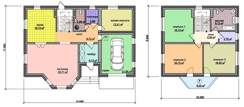 Проект кирпичного двухэтажного дома с гаражом для одного автомобиля