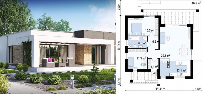 Проект одноэтажного дома из пеноблоков 11х11 м