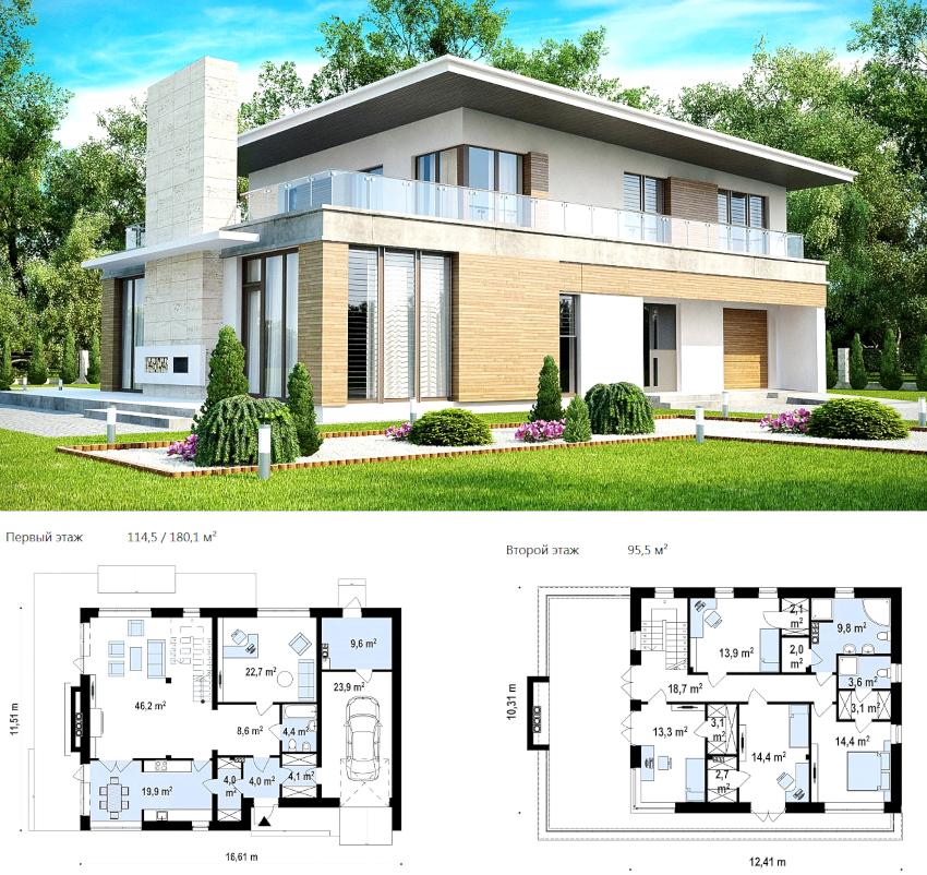 Проект двухэтажного дома из пеноблоков общей площадью 275 м²