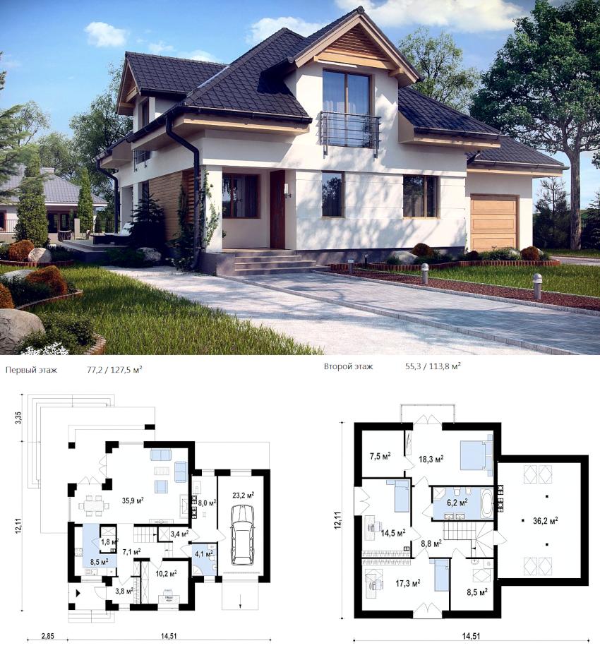 Проект двухэтажного дома из пеноблоков общей площадью 240 м²