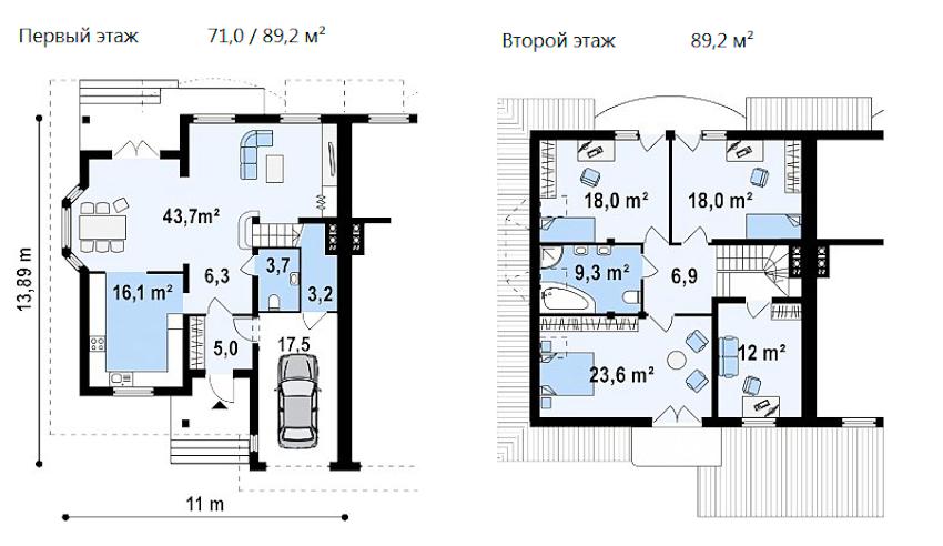 Проект двухэтажного дома с гаражом из пеноблоков 11х14 м