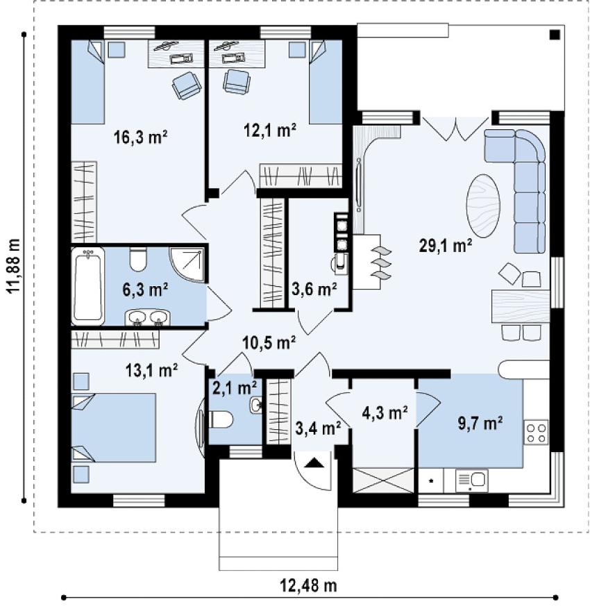 Проект одноэтажного дома из пеноблоков 12х12 м