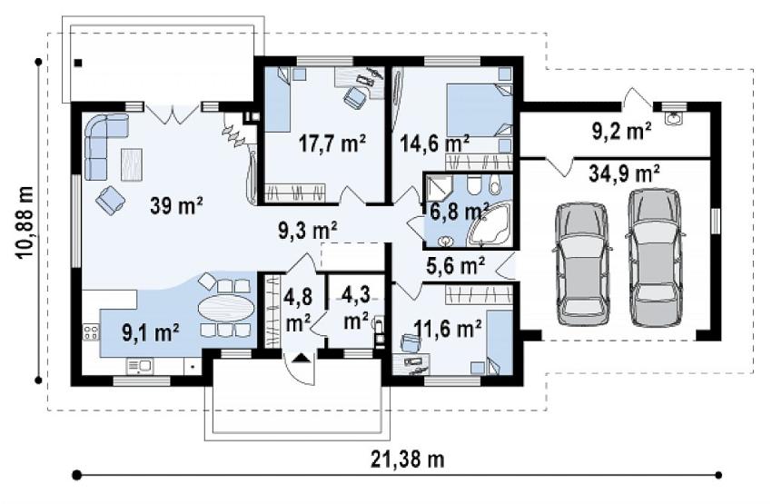 Проект дома из пеноблоков с гаражом на два автомобиля