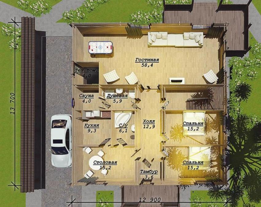 Одноэтажные проекты домов целесообразно воплощать в жизнь на больших участках