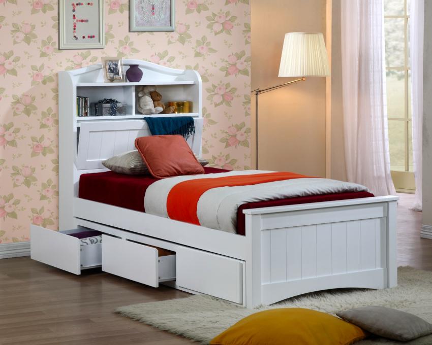 В односпальных кроватях выделяют такие типы изголовья: стационарное, приставное, настенное, навесное