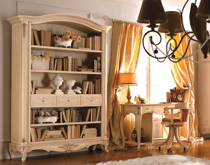 Книжные шкафы прованс производят из натуральной древесины, они могут быть оснащены открытыми и закрытыми полками