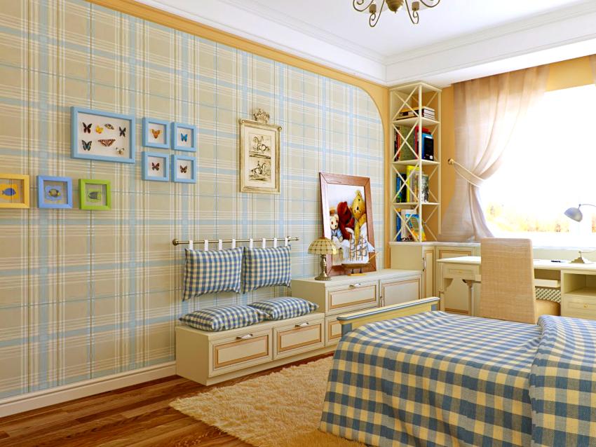 В маленькой детской комнате прованс можно поставить комод и угловой стеллаж