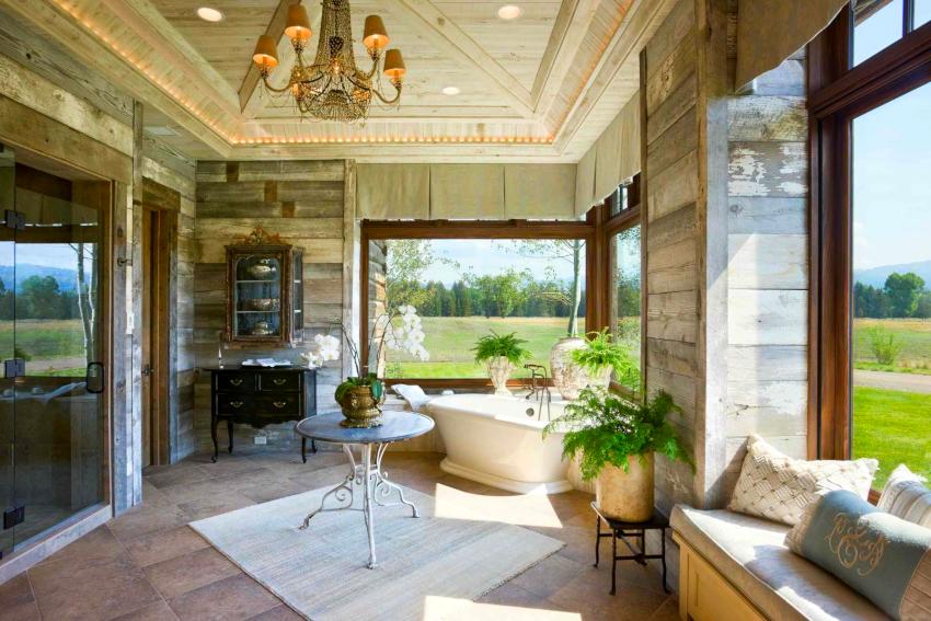 Мебель в стиле прованс требует пространства, поэтому ее размещение желательно в просторных ванных комнатах