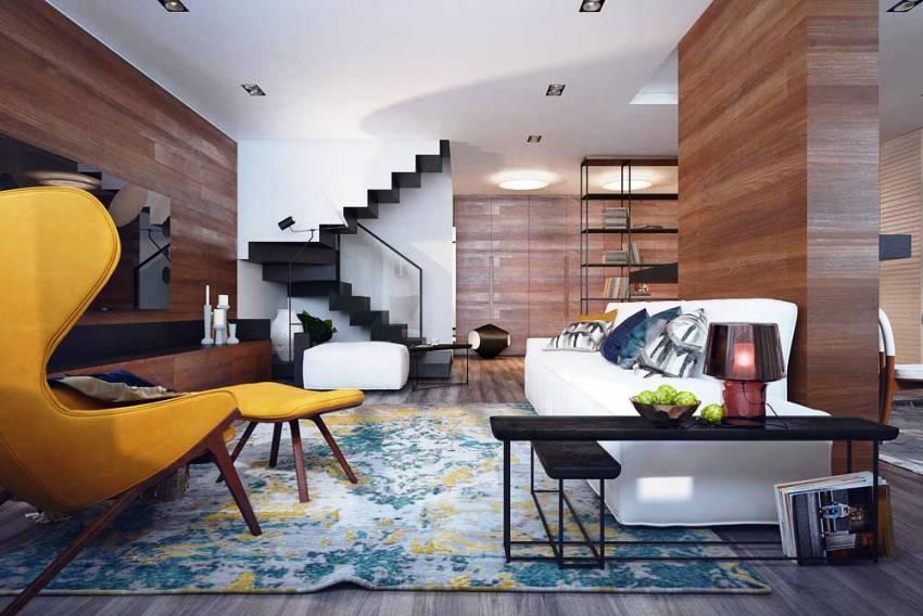 Сочетание различных текстур создаёт ощущение динамики и объёма в интерьере в современном стиле